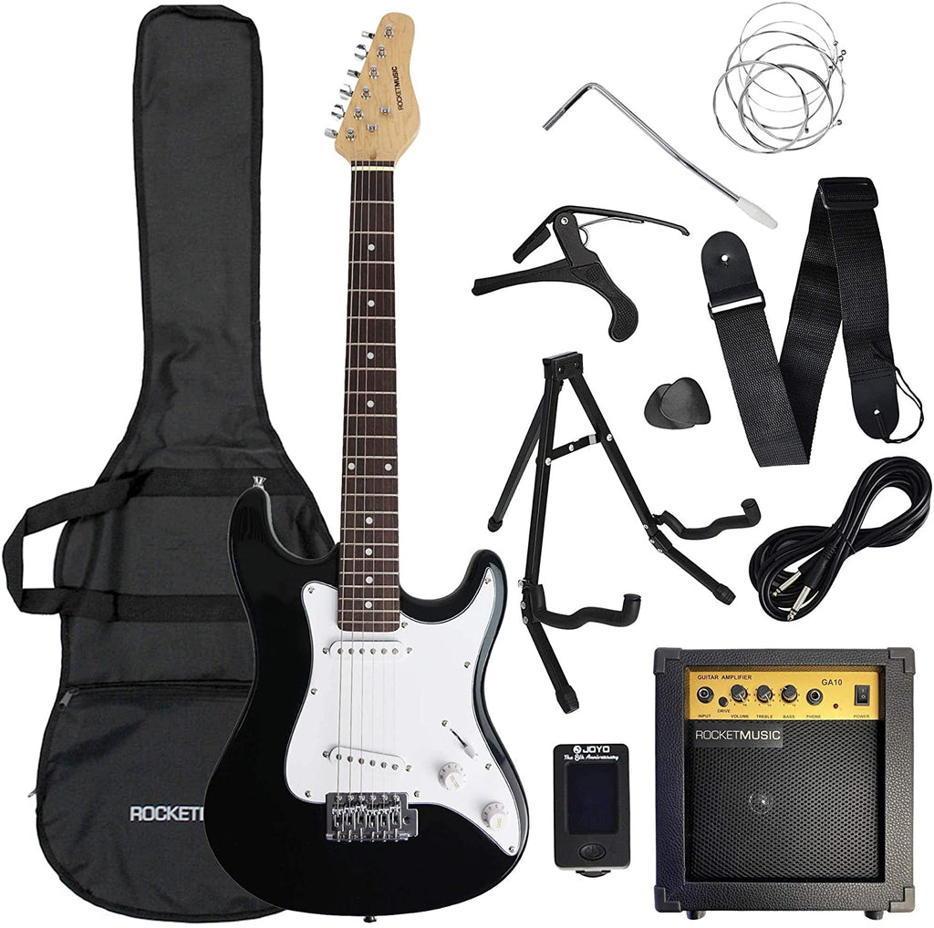 Rocket 3rd Avenue Rocket Series Full Size Beginner Electric Guitar Premium Bundle with Amp, Tuner, Cable, Stand, Gig Bag, Strap, Spare Strings, Picks, Capo - Black