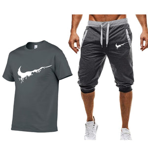 Summer Men's Sets T Shirts+shorts men Brand clothing Two piece suit tracksuit Fashion Casual Tshirts Gyms Workout Fitness Sets
