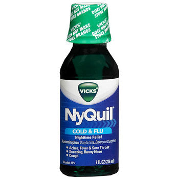Vicks Nyquil Cold & Flu Relief Liquid Original Flavor, 8oz