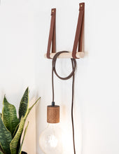 Load image into Gallery viewer, Large leather wall hook minimal wall strap modern décor shelf strap hanging loop strap Scandinavian wine bottle holder Nordic home accessories wall organization