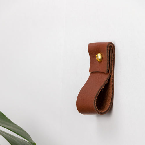 Small brown leather wall strap minimal leather wall hook modern decor brass towel ring leather wall hanging loop strap wall storage Scandinavian Curtain Rod Mou