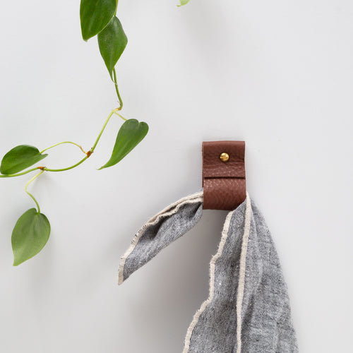 Small Wide Leather Wall Strap [Flat End]