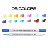 Dual Brush Marker 28 Colors in 14 Pens - RazanArt