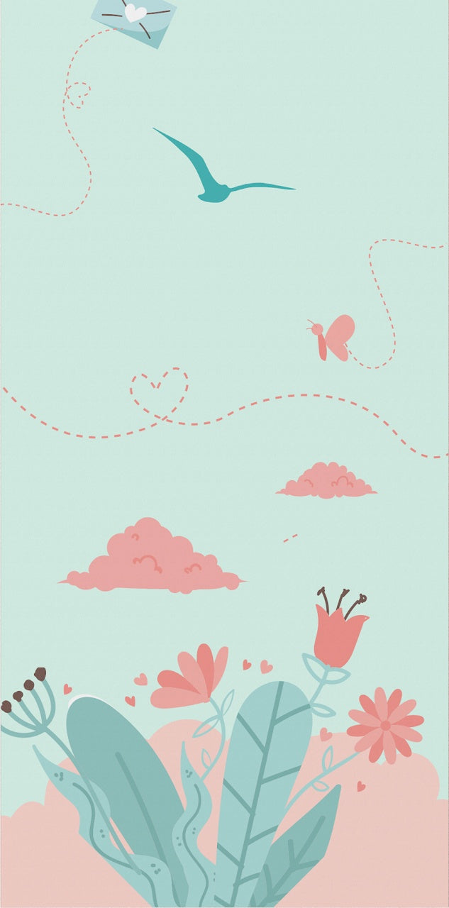 Valentine's card light blue and pink with clouds and leaves