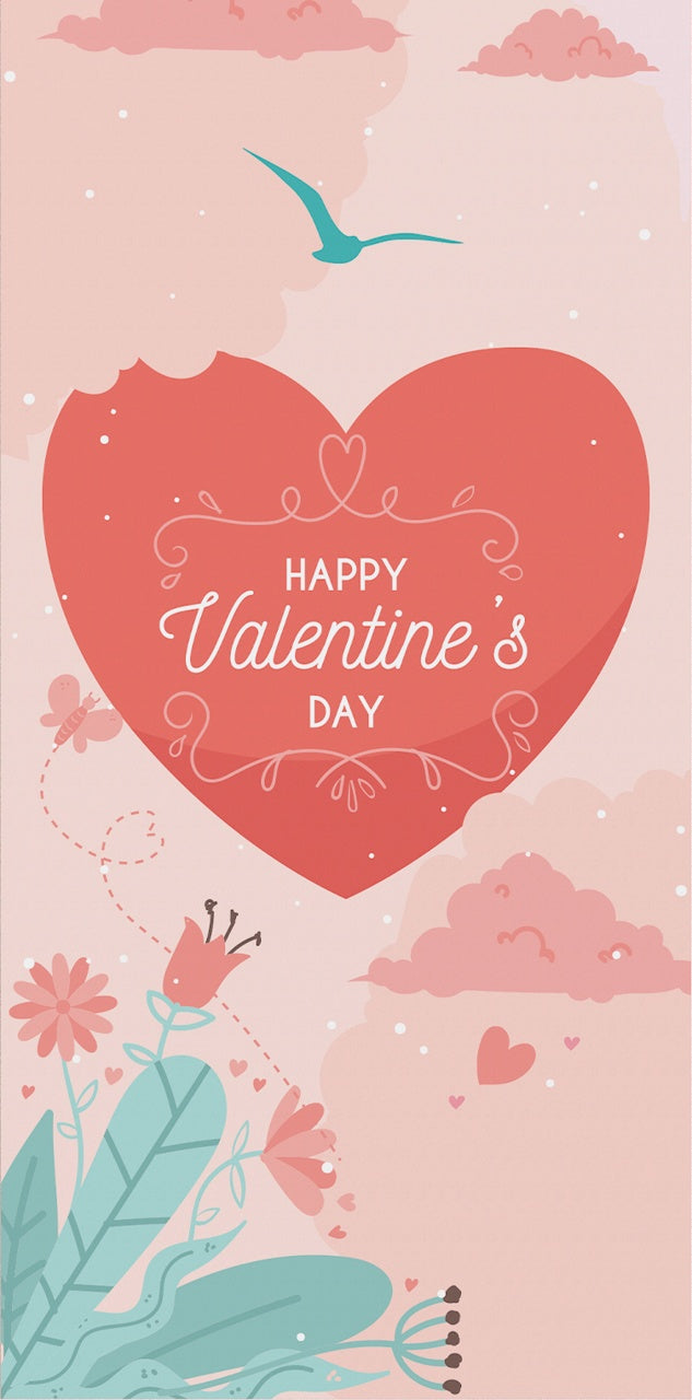 Valentine's Card with a hear tropical