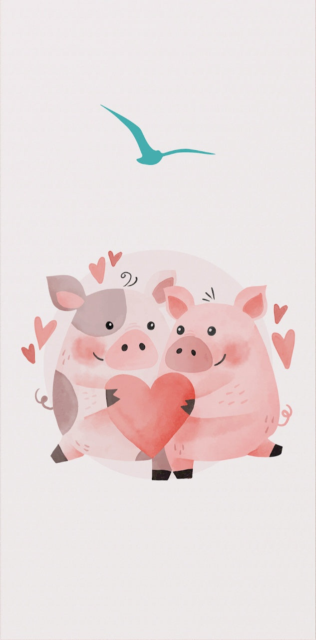 Valentine's Card with hugging pigs