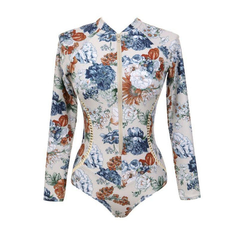 Floral Long-Sleeved One-Piece Swimsuit