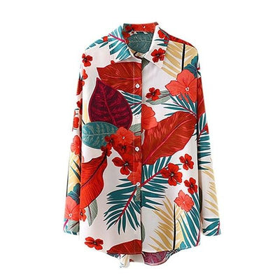Hawaiian Color Women Long Sleeve Blouse Tropical BLVD Fashion TropicalBlvd Color: White USA