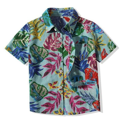 Short Sleeve Leaves Print Boys Shirt Tropical BLVD Fashion TropicalBlvd Color: Green Size: 12M USA