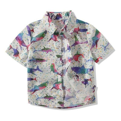 Short Sleeve Sharks Print Boys Shirt Tropical BLVD Fashion TropicalBlvd Color: Gray Size: 3T USA