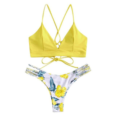 Two Pieces Flowers Swimsuits Tropical BLVD Fashion TropicalBlvd Yellow M United States