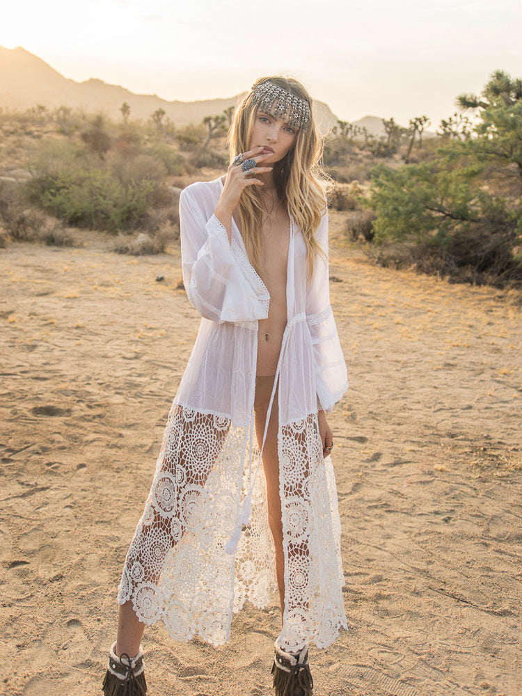 Safi Cotton Lace Kaftan - Island Tribe