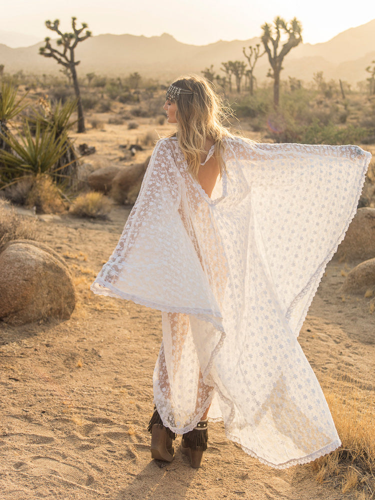 Tangier Cotton Lace Kaftan - Island Tribe
