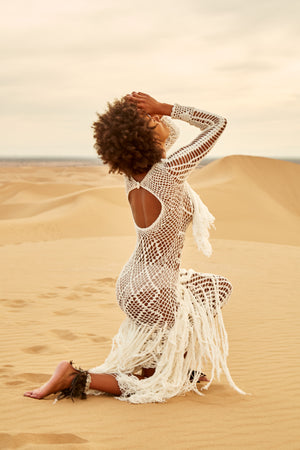 Lovina Fringe Macrame Dress - Island Tribe