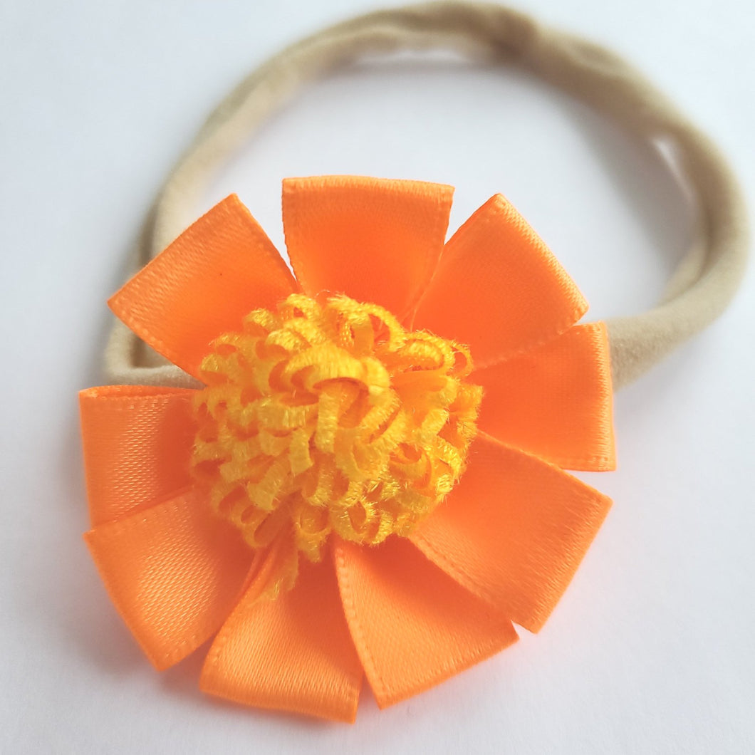 Orange Burst Flower Headband