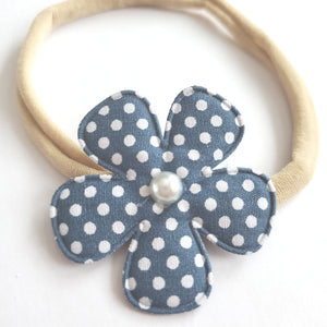 Blue Polka Dot Flower Headband