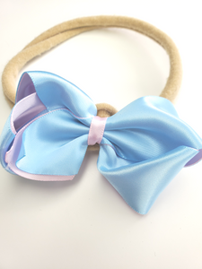 Blue & Pink Bow Headband
