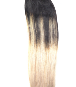 Black to white Blonde Ombre Clip In Hair Extensions