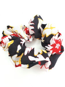 Black Floral Chiffon Hair Scrunchie