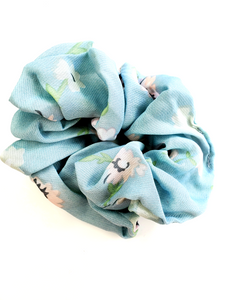 Light Blue Floral Chiffon Hair Scrunchie