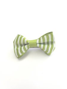 Green Stripe Bow Hair Clip