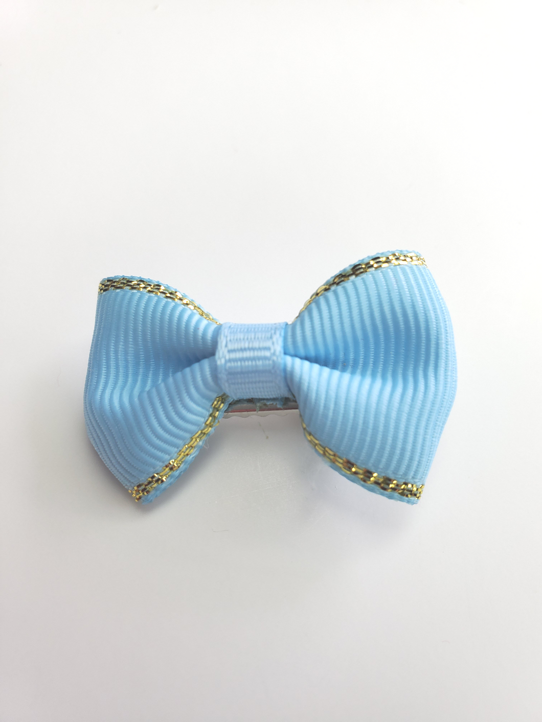 Light Blue With Gold Trim Bow Hair Clip