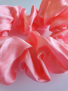 Bright Pink Silk Scrunchie