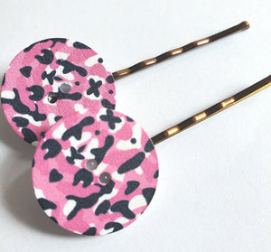 Pink Camo Button Pins