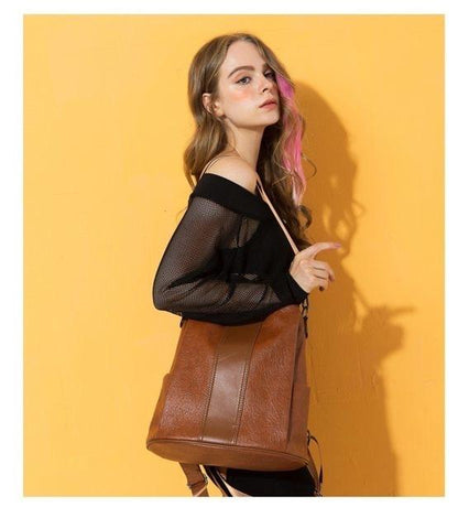 quality PU leather backpack model