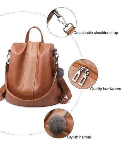 quality PU leather backpack details