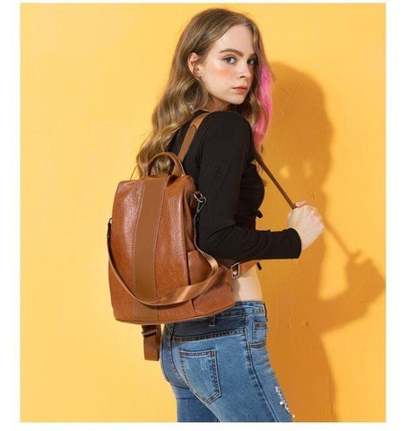quality PU leather backpack wearing