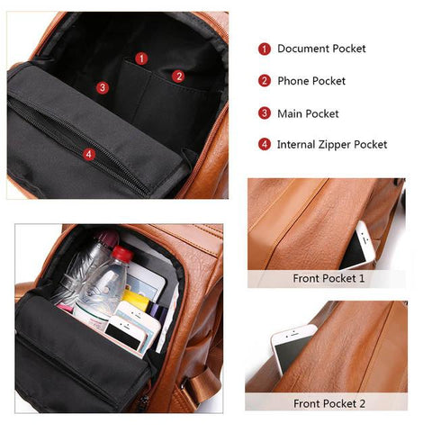 quality PU leather backpack interior