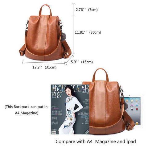 quality PU leather backpack size