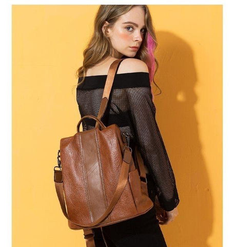 quality faux leather bag wearing