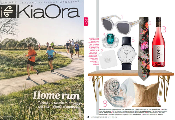 Bird and Knoll Hong Kong scarf in Air New Zealand's Kiaora magazine