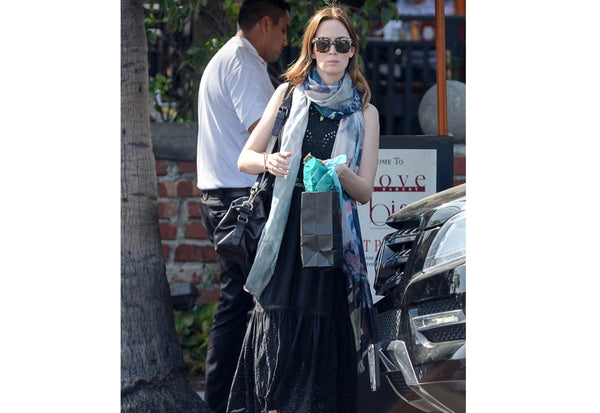 Emily Blunt wearing her Bird and Knoll Bolivia scarf in Hollywood