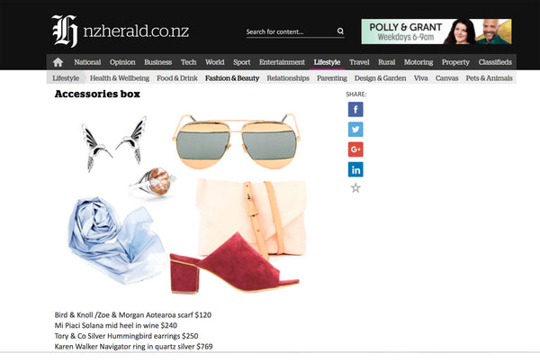 bird and knoll x zoe and morgan scarf in herald on sunday