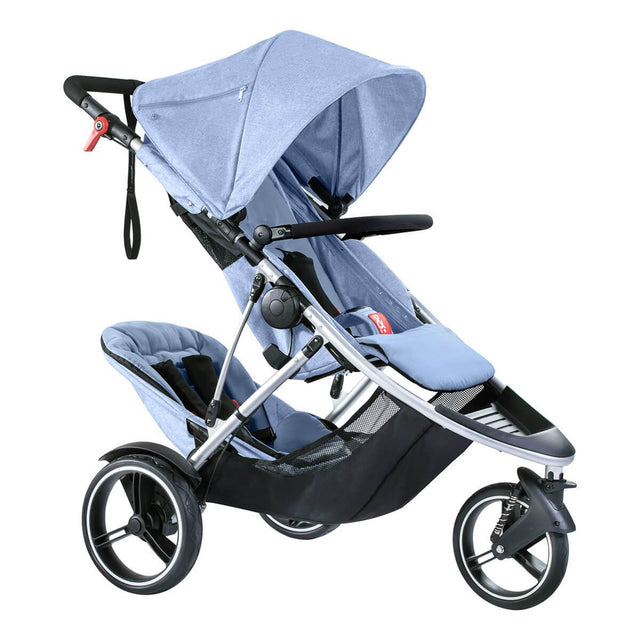 phil&teds dash lightweight inline stroller with double kit in rear position in blue marl 3 qtr view_blue marl