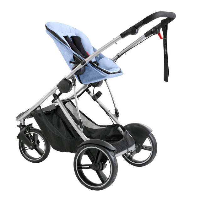 phil&teds dash lightweight inline stroller with double kit in parent facing position without sunhood in blue marl 3 qtr view_blue marl