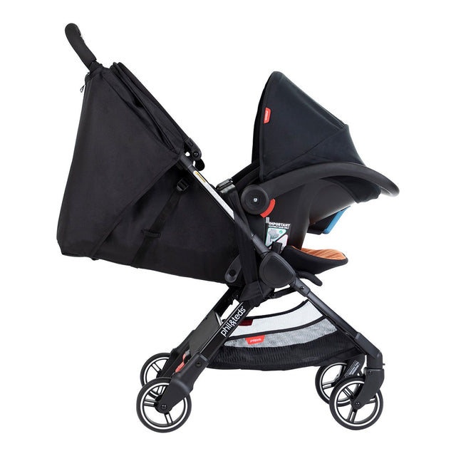 phil&teds go light and compact buggy full relicne with alpha travel system belt side view_charcoal