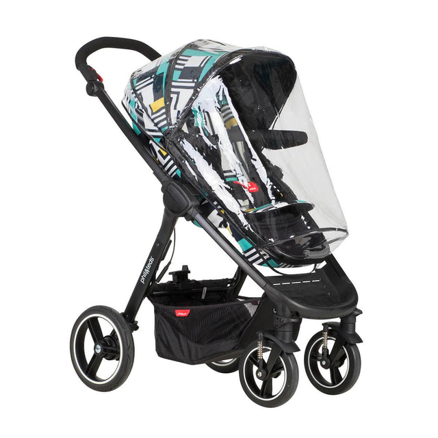 phil&teds mod stroller in abstract fitted with storm cover 3/4 view_default