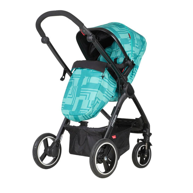 phil&teds mod stroller in capri colour with cosy toe fitted and main seat in parent facing mode 3/4 view_capri