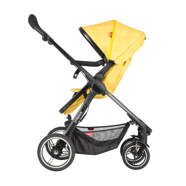 phil&teds mod stroller in zest colour with main seat in parent facing mode 3/4 view_zest