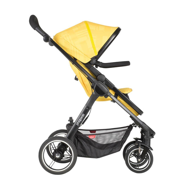 phil&teds mod stroller in zest colour with main seat in front facing side view_zest