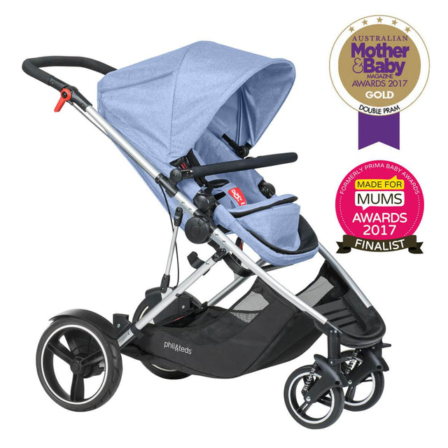 phil&teds award winning voyager buggy in blue marl 3/4 view_blue marl