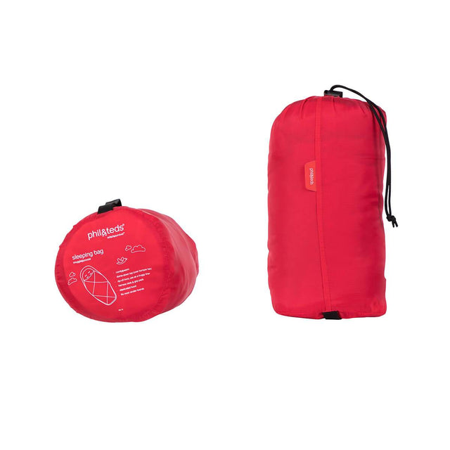 phil&teds snuggle & snooze sleeping bag in red compactly packed front view_red
