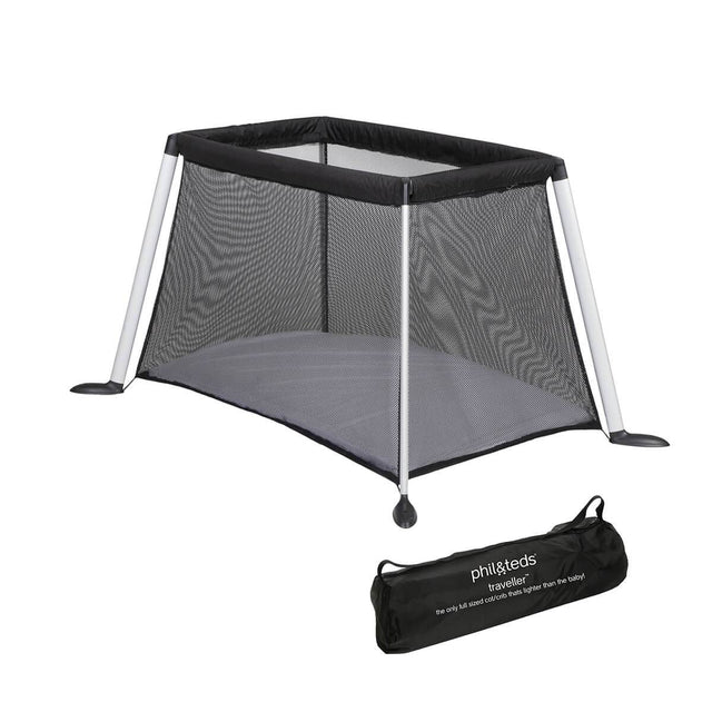 phil&teds traveller v4 portable travel cot 3qtr view et in bag_black