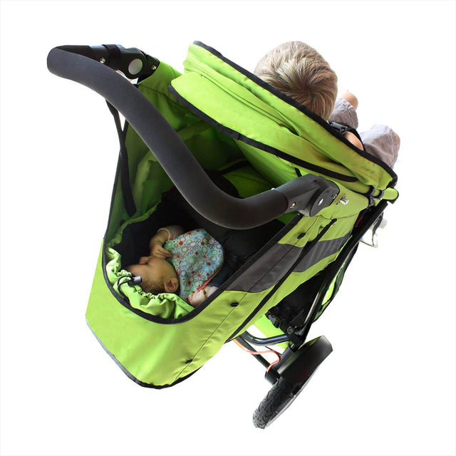 phil&teds cocoon carrycot in apple in the lie flat position under the double kit 3/4 view_apple