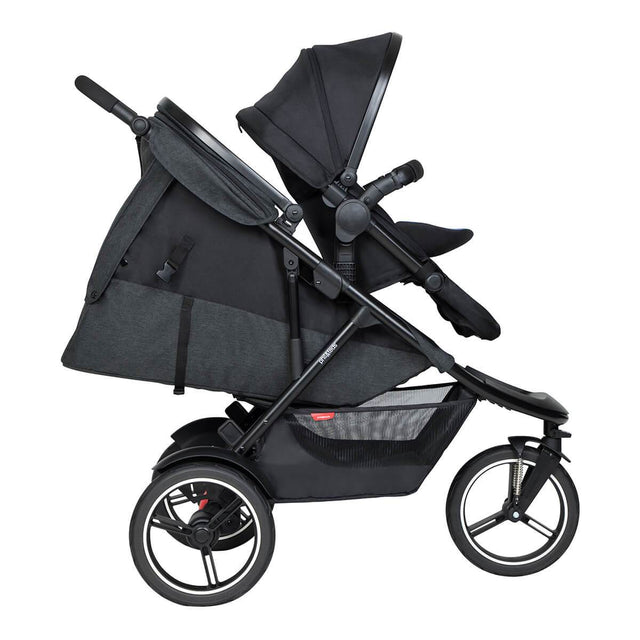 phil&teds dash inline buggy with double kit in front and sling seat in lie flat for newborn