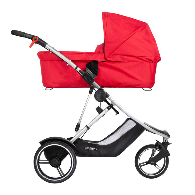 phil&teds dash buggy with snug carrycot side view_red